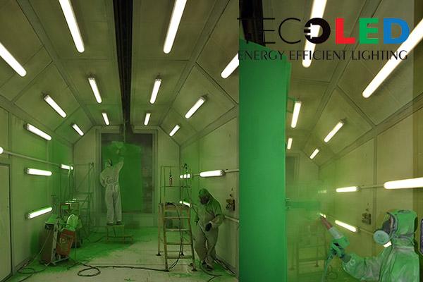 Świetlówki LED i oprawy LED IP65 zastosowane do oświetlenia malarni