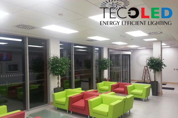 Panele LED - oświetlenie recepcji fabryki