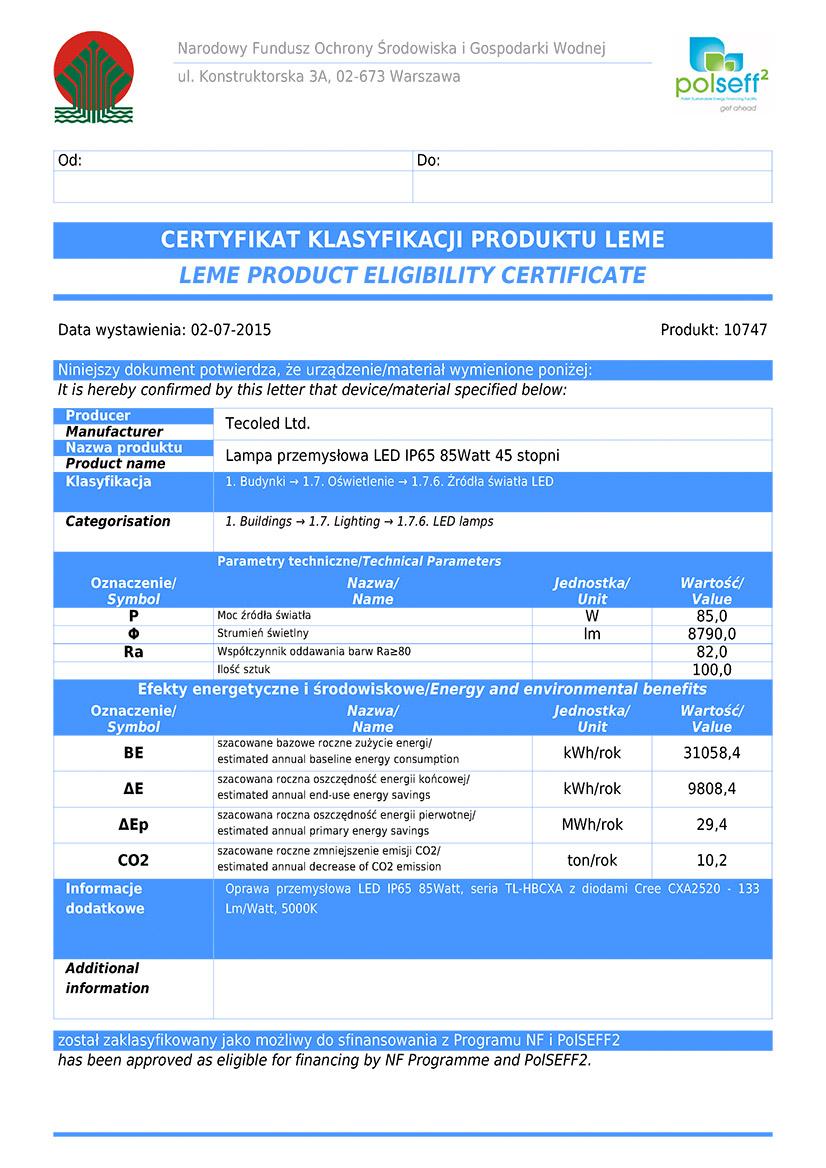 Lampy przemysłowe LED certificate LEME