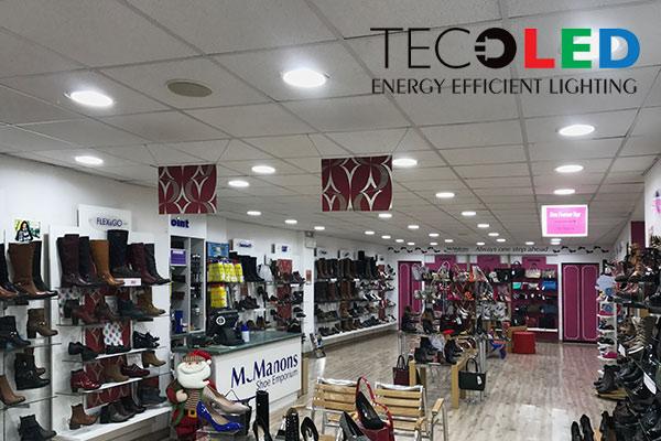 Oświetlenie sklepów z obuwiem - zastosowane oświetlacze sufitowe TL-DLCXA
