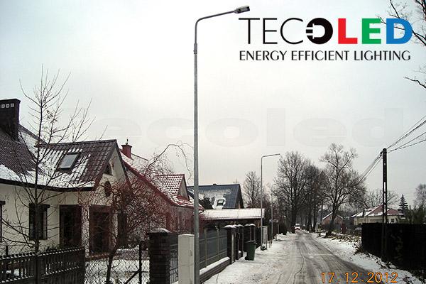 Lampy uliczne LED zastosowane do oświetlenia w miejscowości Zielonka k. Warszawy